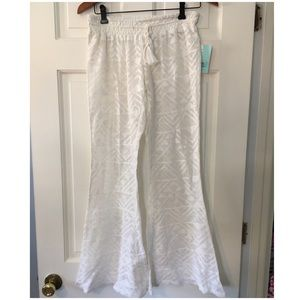 Rip Curl White Crochet Swim Cover Up Pants Flare S